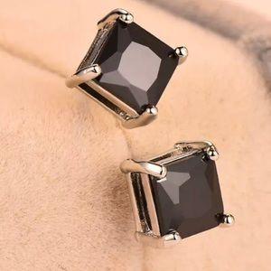 1/2 CTTW Princess Real Black Diamond 14K  Studs